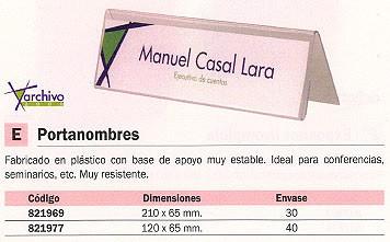 ENVASE DE 40 UNIDADES ARCHIVO 2000 PORTANOMBRES SOBREMESA 120X65 PLASTICO 6144PCSTP