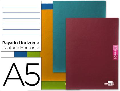 Libretas escolares ENVASE DE 5 UNIDADES LIBRETA LIDERPAPEL SCRIPTUS A5PLUS 48 HOJ. 90G/M2 HORIZONTALCON MARGEN