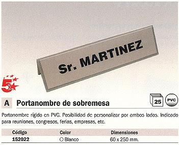 ENVASE DE 25 UNIDADES 5 ESTRELLAS PORTANOMBRE 65X250 MM BLANCO SOBREMESA PVC A1296