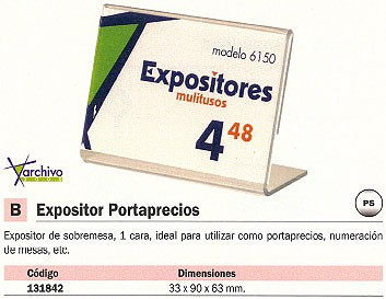 ARCHIVO 2000 EXPOSITOR PORTAPRECIOS 33 X 90 X 63 MM. 6150CSTP