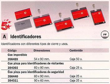 5 ESTRELLAS IDENTIFICADORES 25 UD 60X90 MM CON PINZA 8255-19