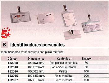 ENVASE DE 50 UNIDADES 5 STAR IDENTIFICADORES CAJA 50 UD 55X90 PINZA+IMPERDIBLE 2076PI