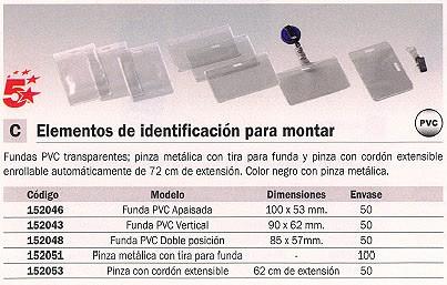 ENVASE DE 50 UNIDADES 5 ESTRELLAS FUNDA IDENTIFICACION CAJA 50 UD 100X53 MM PINZA METÁLICA 107450