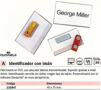 ENVASE DE 25 UNIDADES DURABLE IDENTIFICADOR CON IMÁN 40X75 MM 8116-19