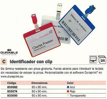 ENVASE DE 25 UNIDADES DURABLE IDENTIFICADOR CON PINZA 60X90 MM TRANSPARENTE 8106-19
