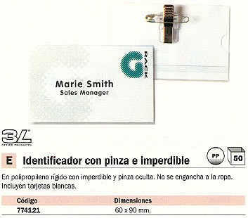 ENVASE DE 50 UNIDADES 3L IDENTIFICADORES 60X90 PINZA+IMPERDIBLE 11201