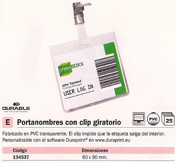 ENVASE DE 25 UNIDADES DURABLE PORTANOMBRES TRANSPARENTE CON CLIP GIRATORIO 8003-19