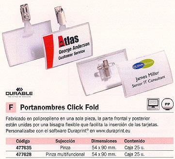 DURABLE IDENTIFICADOR PORTANOMBRES CLICK FOLD CAJA 25 UD 54X90 MM 8214
