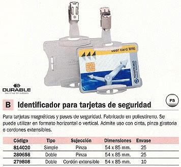 DURABLE IDENTIFICADOR TARJETAS SEGURIDAD 54X85 MM CORDÓN EXTENSIBLE 8219-19