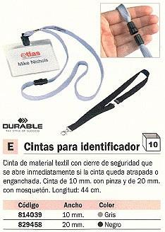 ENVASE DE 10 UNIDADES DURABLE CINTA IDENTIFICADOR PINZA 44X10 GRIS 8119-10