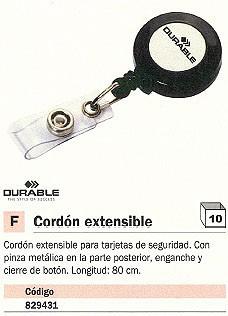 ENVASE DE 10 UNIDADES DURABLE CORDÓN EXTENSIBLE PINZA 80 CM 8152