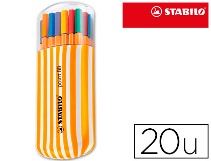 STABILO ROTULADOR PUNTA DE FIBRA POINT 88 COLORES SURTIDOS TRAZO 0,4 MM ESTUCHE 20 UD 8820/02