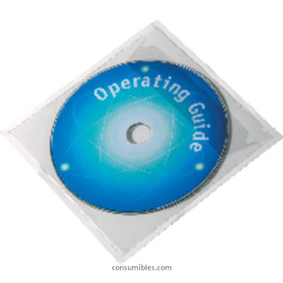 DURABLE BOLSILLO ADHESIVO 10 UD CON SOLAPA TRANSPARENTE PARA CD 8080