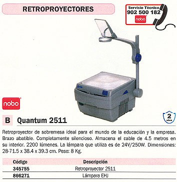 NOBO LAMPARA VIDEOPROYECTOR 250W 30957