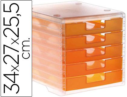 Ficheros de sobremesa FICHERO CAJONES DE SOBREMESA LIDERPAPEL 340X270X255 MM APILABLES 5 CAJONES NARANJA MANDARINA TRANSLUCIDO