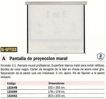 BI OFFICE PANTALLA DE PROYEECION 152X152 CM 9D006030