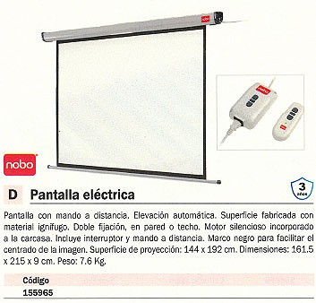 NOBO PANTALLA DE PROYECCIÓN 161,5X215CM ELECTRICA 1901972