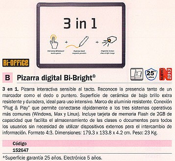 BI OFFICE PIZARRA DIGITAL 179,3X133,8X4,2 MEMORIA 2 GB 23 KG BI1291800