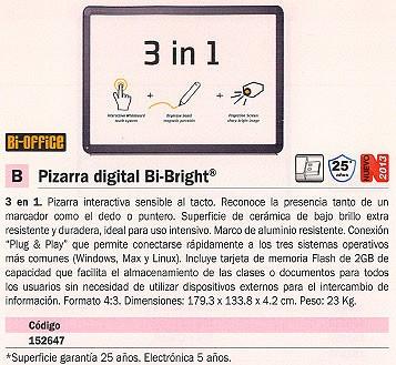BI OFFICE PIZARRA DIGITAL 179,3X133,8X4,2 MEMORIA 2 GB 23 KG BI1291800