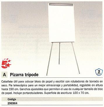 5 ESTRELLAS PIZARRA CABALLETE REGULABLE SUPERF. ESCRI. 100X70 CM EA2300495