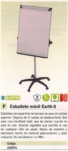 BI OFFICE CABALLETE MOVIL EARTH IT MÓVIL BORRADO EN SECO SOPORTE REGULABLE MARCO ALUMINIO EA4876995