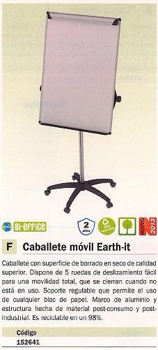 BI-OFFICE CABALLETE MOVIL EARTH-IT MÓVIL BORRADO EN SECO CANON REGULABLE MARCO ALUMINIO E A4876995