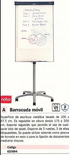 NOBO PIZARRA CABALLETE BARRACUDA MOVIL REGULABLE SUPERF. ESCRI. 100X67,5 CM 1902386