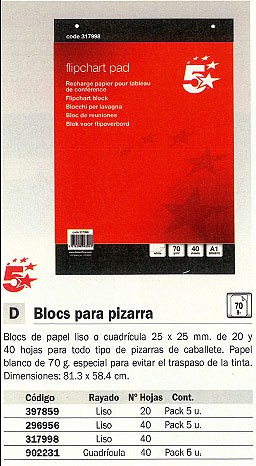 5 STAR BLOC PIZARRA 20 HOJAS 81.3X59.5CM LISO 632911 FL01080