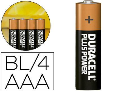Baterias PILA DURACELL ALCALINA PLUS AAA BLISTER CON 4 PILAS