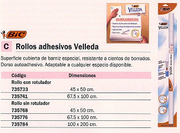 BIC ROLLO ADHESIVO VELLEDA 45X50 CM DORSO AUTOADHESIVO 870494