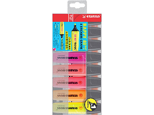 STABILO FLUORESCENTE BOSS ORIGINAL EST. 8 UD TRAZO 2-5 MM P.BISEL.COLORES SURTIDOS BOSS70/8
