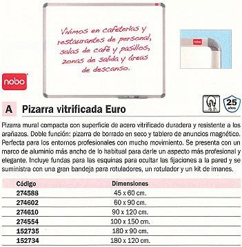 NOBO PIZARRA VITRIFICADA MAGNÉTICA EURO PLUS MARCO DE ALUMINIO 90X120 CM. 1902660
