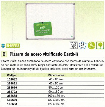 BI OFFICE PIZARRA ACERO VITRIFICADO EARTH IT 120X180CM MATERIALES RECICLADOS PVE120180