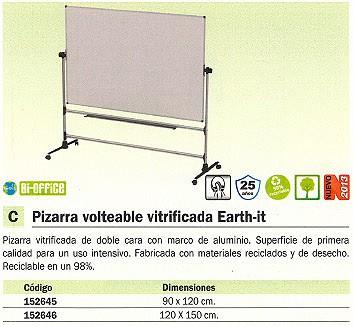 BI OFFICE PIZARRAS BLANCAS DE ACERO VITRIFICADO VOLTEABLEEARTHIT 120X150 DOBLE CARA RQR0424