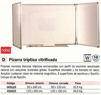 NOBO PIZARRA TRIPTICA VITRIFICADA 90X240 CM ABIERTA 41138302