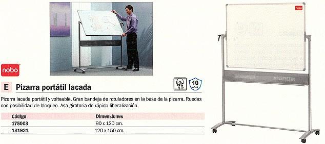 NOBO PIZARRA BLANCA MAGNETICA 90X120 RUEDAS PORTATIL 1901029