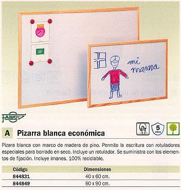 FAIBO PIZARRA METALICA BLANCA MAGNÉTICA CON MARCO DE MADERA 60X90CM 702-3