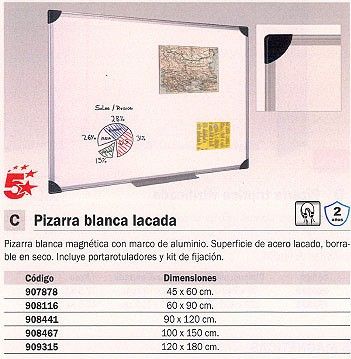 5 ESTRELLAS PIZARRA MAGNETICA 120X180 MARCO ALUMINIO MA2706170