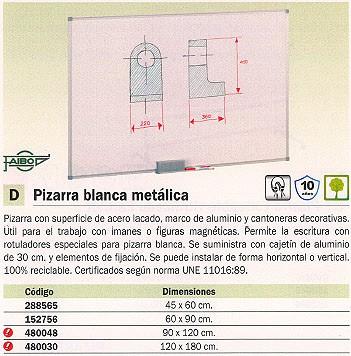 FAIBO PIZARRA BLANCA MAGNETICA 120X180 MARCO ALUMNIO 840-12U