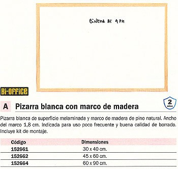 BI-OFFICE PIZARRA BLANCA MELAMINADA 45X60 CM MARCO MADERA MA0212178