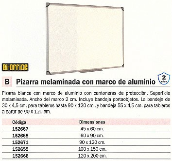 BI OFFICE PIZARRA BLANCA 45X60 MARCO ALUMINIO MP04001010