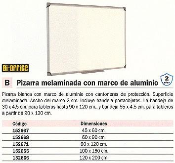 BI-OFFICE PIZARRA BLANCA MELAMINADA 60X90 MARCO DE ALUMINIO MP07001010
