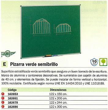 FAIBO PIZARRA VERDE ESTRATIFICADA 122X150CM CAJETIN ALUMINIO 40CM 11VS 4U