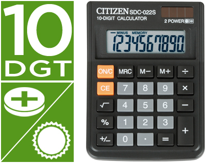 Calculadoras de sobremesa CITIZEN CALCULADORA CITIZEN SOBREMESA SDC-022 S 10 DIGITOS