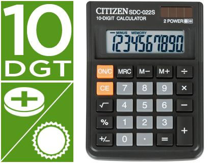 Calculadoras de sobremesa CITIZEN CALCULADORA CITIZEN SOBREMESA SDC-022 S 10 DIGITOS