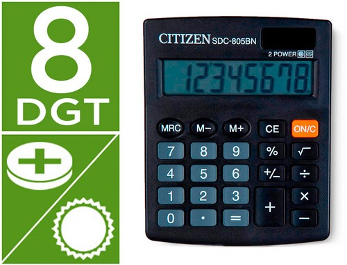 Calculadoras de sobremesa CITIZEN CALCULADORA CITIZEN SOBREMESA SDC-805 BN 8 DIGITOS