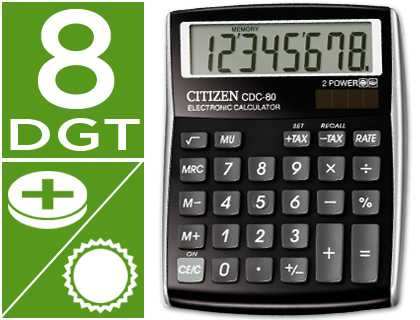 Calculadoras de sobremesa CITIZEN CALCULADORA CITIZEN SOBREMESA CDC-80 BKWB 8 DIGITOS NEGRA