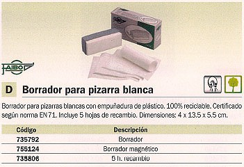 FAIBO BORRADOR MAGNETICO 4X13.5X5.5CM PIZARRA BLANCA