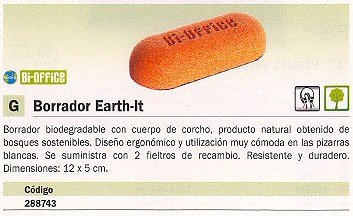 BI-OFFICE BORRADOR EARTH-IT 12X5 CM INCLUYE 2 FIELTROS RECAMBIO AA0617