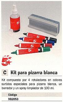 5 ESTRELLAS KIT PARA PIZARRA BLANCA 4 ROTULADORES +BORRADOR+LIQ.LIMPIADOR 204-50-123